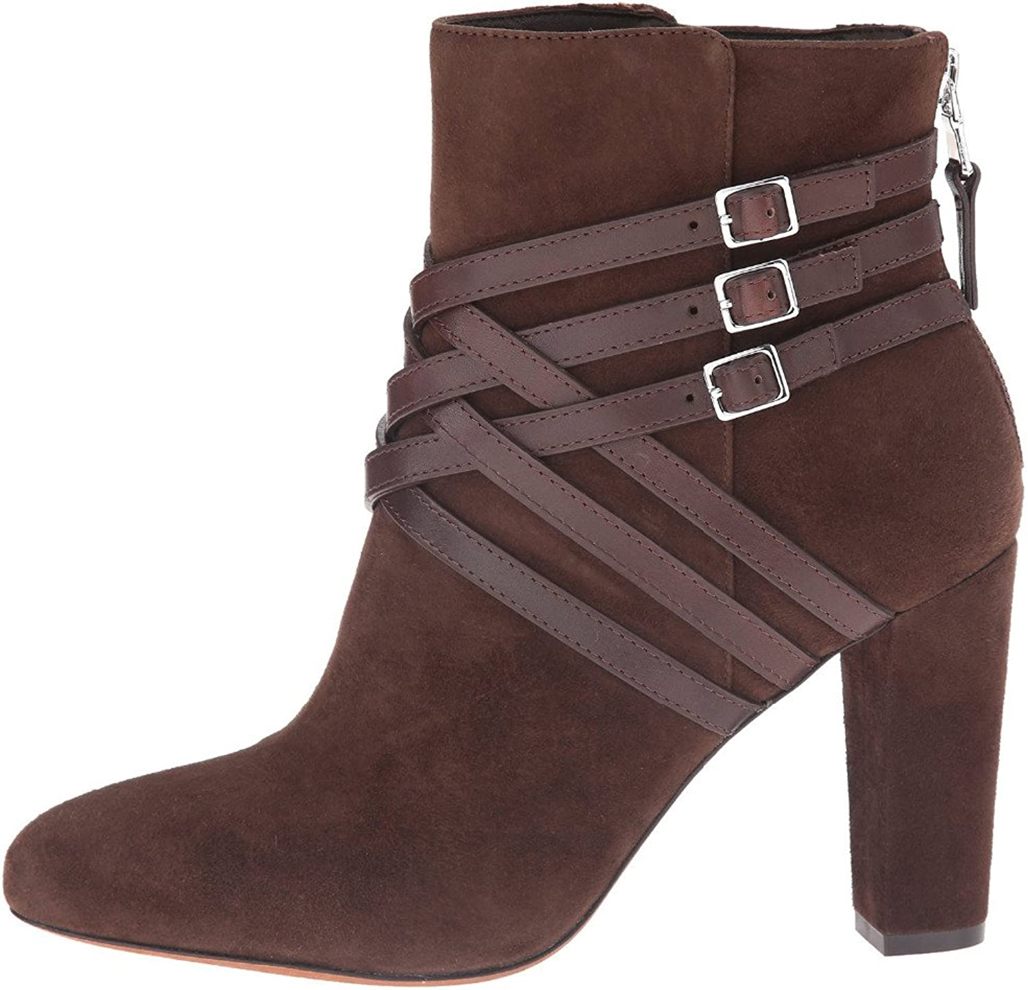 AIWEIYi Womens Belt Strap Chunky High Heels Ankle Boots Brown