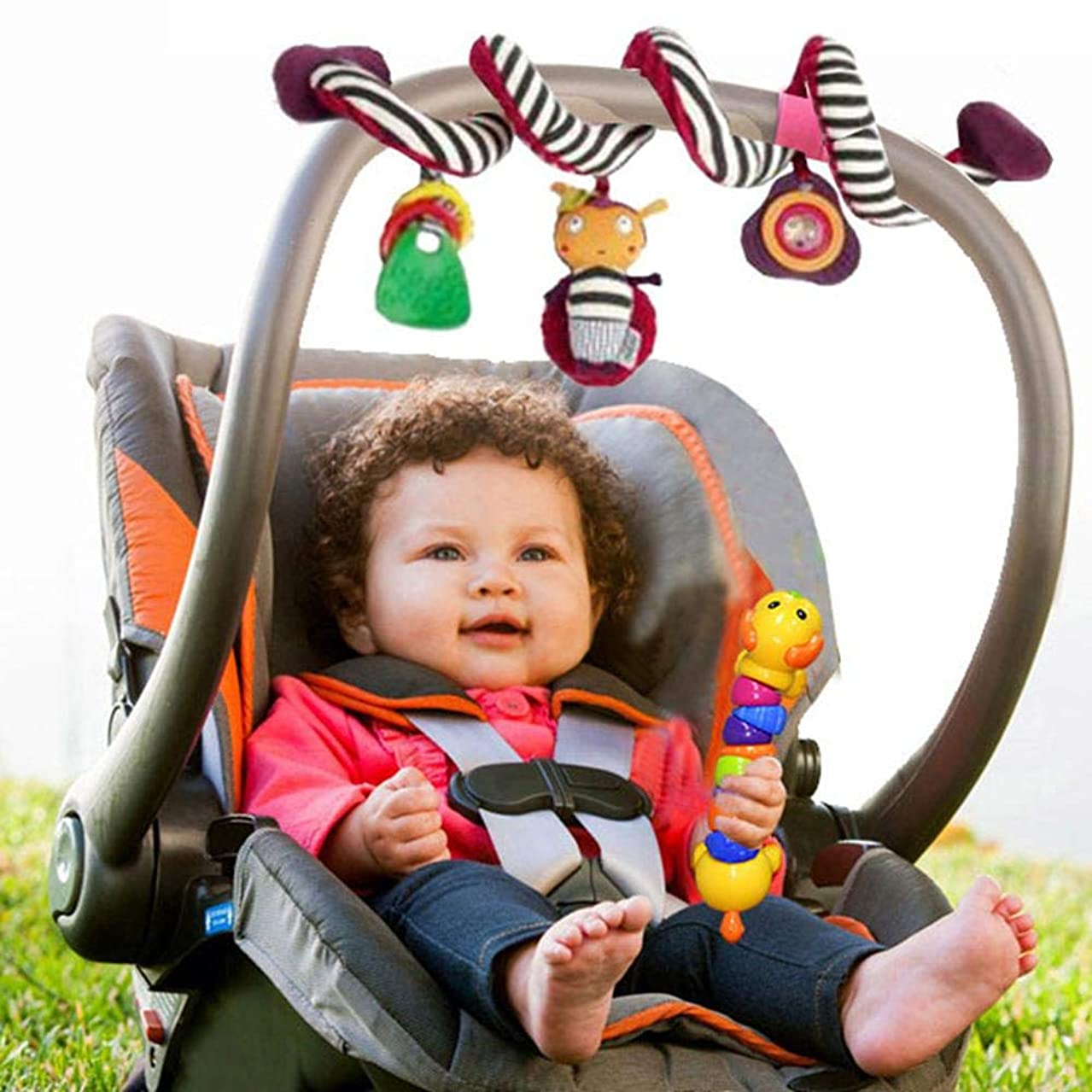 FOONEE Car Seat Rattle Toy, Hanging Plush Toy Cartoon Stroller Rattles Hanging Crib Cot Pram Hanging Rattles Spiral Stroller Seat Toy Stroller Arch Rattles Baby Multi-Function Bell Bed Winding Toy
