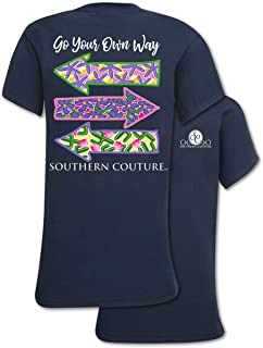 Go Your Own Way Arrows Navy Blue Classic Cotton Fabric Novelty T-Shirt