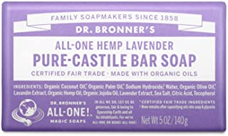 Dr. Bronner's - Pure-Castile Bar Soap (Lavender, 5 ounce) - Made with Organic Oils, For Face, Body and Hair, Gentle and Mo...