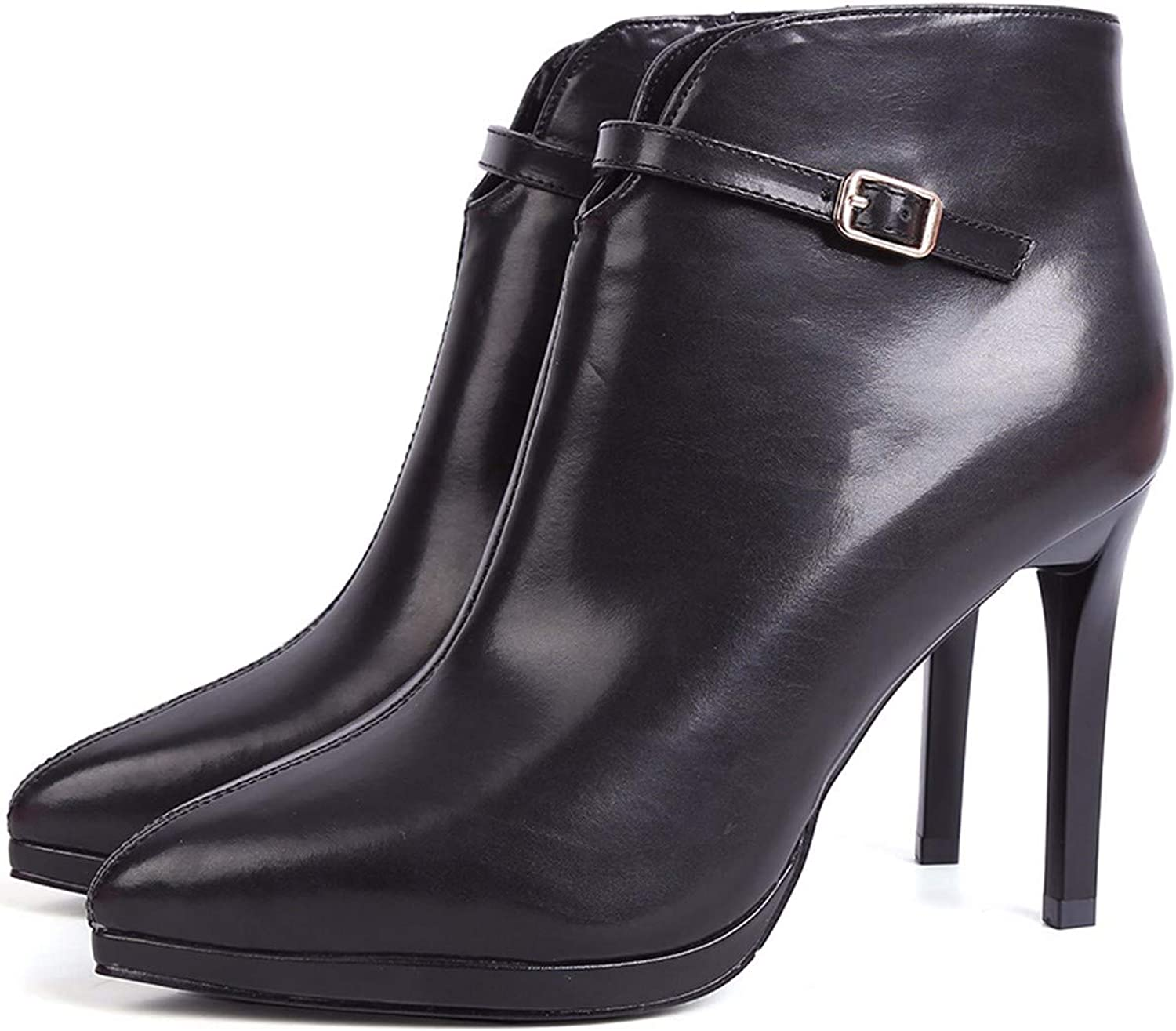 SFSYDDY Popular shoes Sexy Ankle Boots with High 10Cm Super High Heel Short Tube Fashion Waterproof Table Buckle.