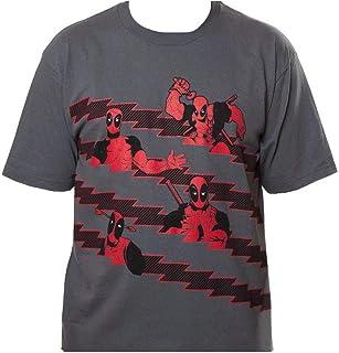 Marvel Deadpool StripesCamiseta Gris Para Hombre