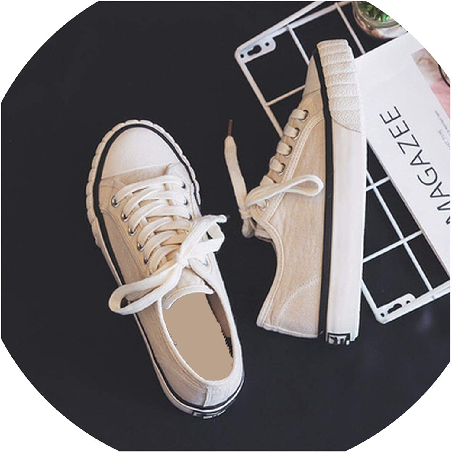 Woman Casual Sneakers Beige Black Ins Trending Style Flat Heel Lace Up Canvas shoes