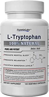 Superior Labs – Pure L-Tryptophan – 500mg, 120 Vegetable Capsules – Non-GMO Dietary Supplement – Restful Sl...