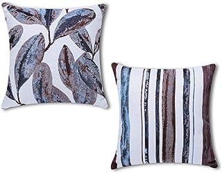 Artscope Fundas de Cojín Decorativas de Hilo Especial para Sofá Cama 45cm x 45cm, Fundas de Almohada con Hojas y Rayas Cuadradas 2 Piezas (Azul púrpura)