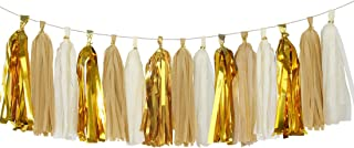 Aonor Shiny Tassel Garland Tissue Paper Tassels Banner Decoration for Birthday Party, Bridal Shower, Table Decor, Metallic Gold+Tan+Ivory, 15 pcs