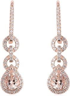 Womens Morganite Vermeil Rose Gold Over 925 Sterling Silver Lever Back Dangle/Inner Drop Earrings Bridal Jewelry