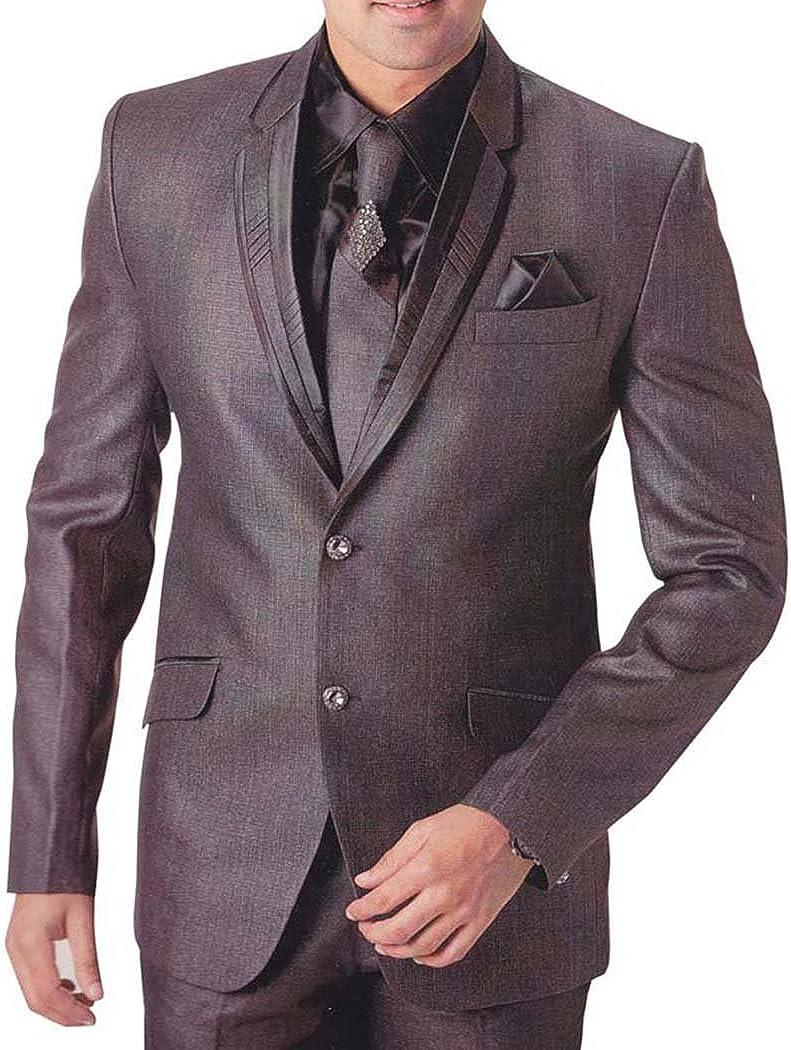 INMONARCH Mens Gray Polyester 6 pc Tuxedo Suit Partywear TX746