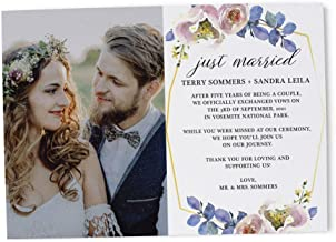 Just Married Floral Elopement Announcement, We are Married, Elopement Announcement Flat Cards, After Marriage Announcement, Customized - Set of 20