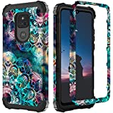 ZHK Compatible with Moto G Play 2021 Case, 3 Layer Luminous Heavy Duty Shockproof Hard PC+Silicone Rubber Hybrid Sturdy Full-Body Protective Case for Moto G Play 2021 Release