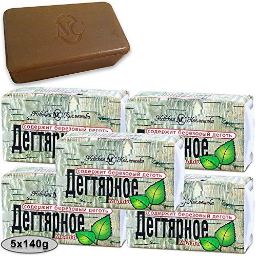 5 Stück (5 x 140g) Teer Seife (Birkenteer) gegen Dermatitis Akne Birkenseife aus Russland