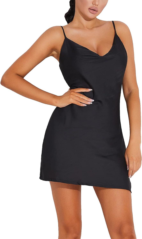 JUST BEHAVIOR Bodycon Dresses for Women Spaghetti Strap Dresses Sexy Cowl Neck Club Cocktail Ruched Satin Mini Dress