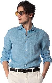 (ジャンネット) GIANNETTO リネン100% 無地 ホリゾンタルカラー 長袖シャツ [GI9185181] [並行輸入品]