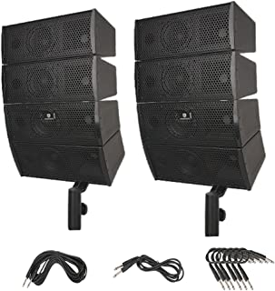 PRORECK Club A 4X4 Passive Line Array Speaker System Sets with Connecting Cables Eight Tweeter and Eight mid-tweeters, 8 Ohms Impedance