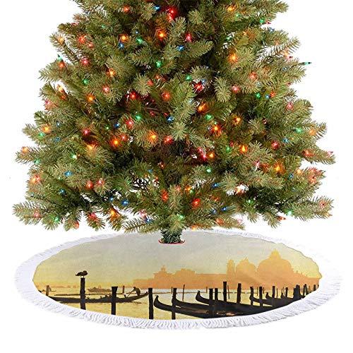 Falda de árbol de Navidad romántica ciudad italiana al amanecer, línea de góndolas, laguna y basílica, decoración de fiesta de Navidad para Navidad, Año Nuevo, fiesta, hogar, mostaza, negro, 77 cm