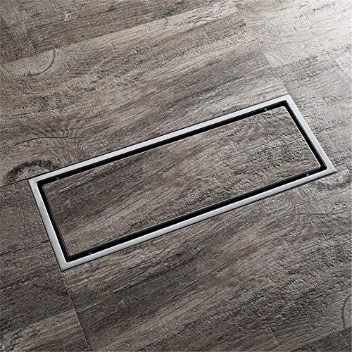 ZKZK Drainpipe Bodenablauf 2-Wege-Einbau Edelstahl-Badezimmer-Linear Bodenablauf Fliese Legen Rechteck Duschbodenablauf Anti-Verstopfungs Badezimmer-Zubehör (Farbe: Silber, Größe: 300 * 110 MM)
