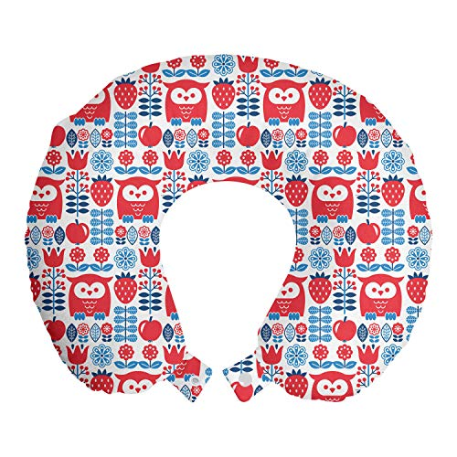 ABAKUHAUS Noruego Cojín de Viaje para Soporte de Cuello, Arte Floral con búho Motif, de Espuma con Memoria Respirable y Cómoda, 30x30 cm, Mar Azul Oscuro Coral