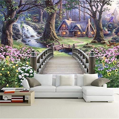 JIYOTTF Papel pintado decorativo de la foto del cartel de la pared de la imagen de la pared del arte 3DBosques flores puentes de madera edificios(W 200x H 150cm) Fondo de pantalla HD Decoración de la