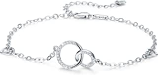 Mother Daughter Bracelet Sterling Silver Two Interlocking Infinity Circles Love Birthday Jewelry for Mom/Friend/Sisters