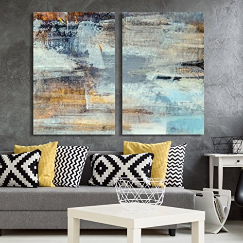 """wall26 - 2 Panel Canvas Wall Art - Abstract Grunge Color Composition - Giclee Print Gallery Wrap Modern Home Art Ready to Hang - 16""""x24"""" x 2 Panels"""