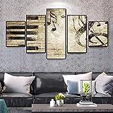 5 piezas de arte Pintura Teclas de piano Notas musicales Impresión en HD Pared Sala de estar Dormitorio Decoración para el hogar Imagen Sin marco Tela no tejida Sin marco Pentas Mu