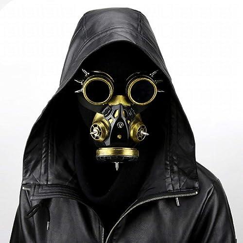 Olprkgdg Biohazard Steampunk Masque à Gaz Masques Spikes Squelette Guerrier Mort Masque Masvoitureade Cosplay Costume d'halFaibleeen Props (Couleur   or)