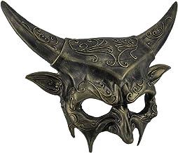 Painted Plastic Metallic Horned Demon Goat Man Half Face Mask Adult Devil Masquerade Costume