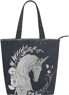ISAOA Große Einkaufstasche aus Segeltuch, Vintage-Marineblaues Einhorn mit Blumen-Handtasche, Strandtasche für Mädchen und Frauen