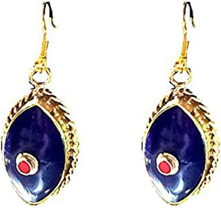 Nepal Lapis Earrings,Dangle style,Blue red and Gold Jewelry Tibetan earrings,Handmade by Taneesi