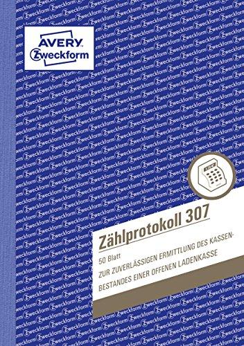 AVERY Zweckform 307 Zählprotokoll für offene Ladenkassen (A5, von Steuerberatern empfohlen, mit Ausfüllhilfe, für Deutschland zur einfachen, nachvollziehbaren Zählung des Barbestands, 50 Blatt) weiß