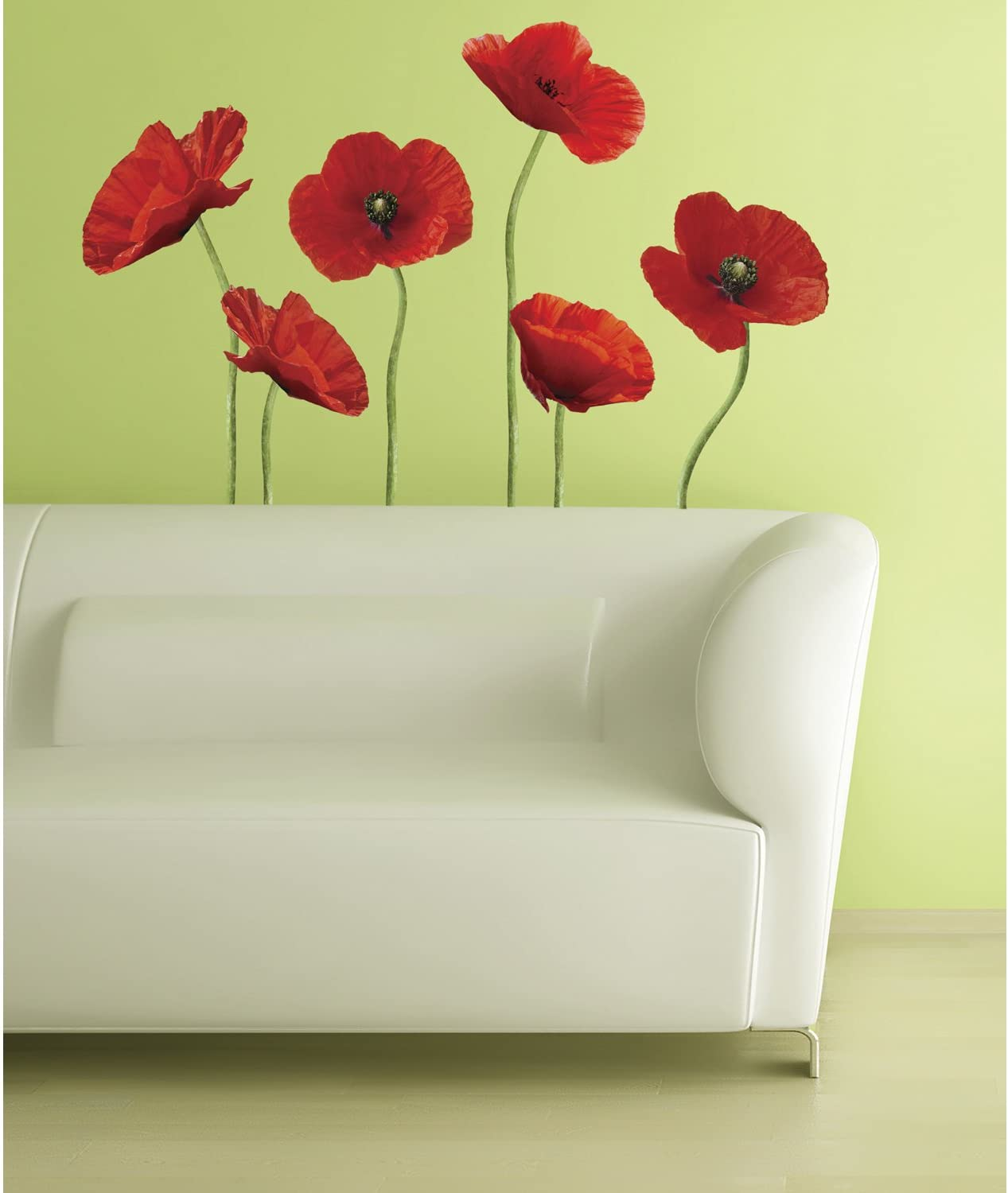 Rainbow Poppies self adhesive or paste /& glue wallpaper mural Rainbow after a rain storm over the meadow poppies  wall art reusable