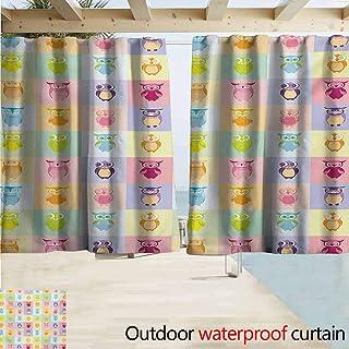 Wlkecgi Kids Doorway Curtain Cartoon Cute Owls Multicolor Fun Animal Love Childrens Art Nursery Play Birds Grommet Curtains for Bedroom W63 xL45 Purple Yellow Pink