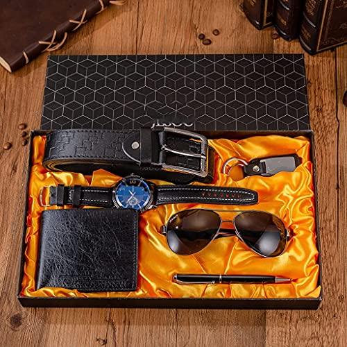 6ピース/セットメンズブティックギフトセットブラックブラウンクォーツウォッチメガネベルト財布giftsが付いているwalletキーチェーンボールペンのスーツ