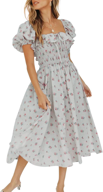 Vintage Retro Very Bright Colourful Flower Pattern Elastic Puff Sleeve Dress