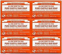 Dr. Bronner's - Pure-Castile Bar Soap (Tea Tree, 5 oz, 6-Pack) - Made with Organic Oils, For Face, Body, Hair & Dandruff, Gentle on Acne-Prone Skin, Biodegradable, Vegan, Non-GMO