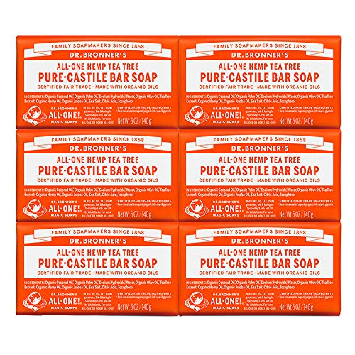 Dr. Bronner's - Pure-Castile Bar Soap (Tea Tree, 5 oz, 6-Pack) - Made with Organic Oils, For Face, Body, Hair and Dandruff, Gentle on Acne-Prone Skin, Biodegradable, Vegan, Non-GMO