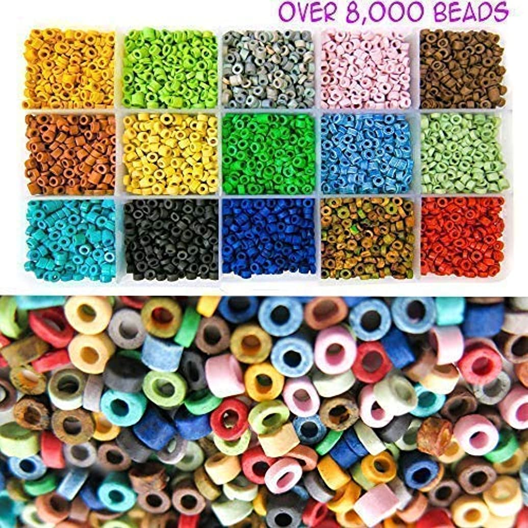 Over 8,000 Ceramic Tube Beads for Jewelry Making with Free Genuine Leather Cord Necklace - Handmade Colorful Premium Quality Craft Bead Kit - Unique Craft Supplies