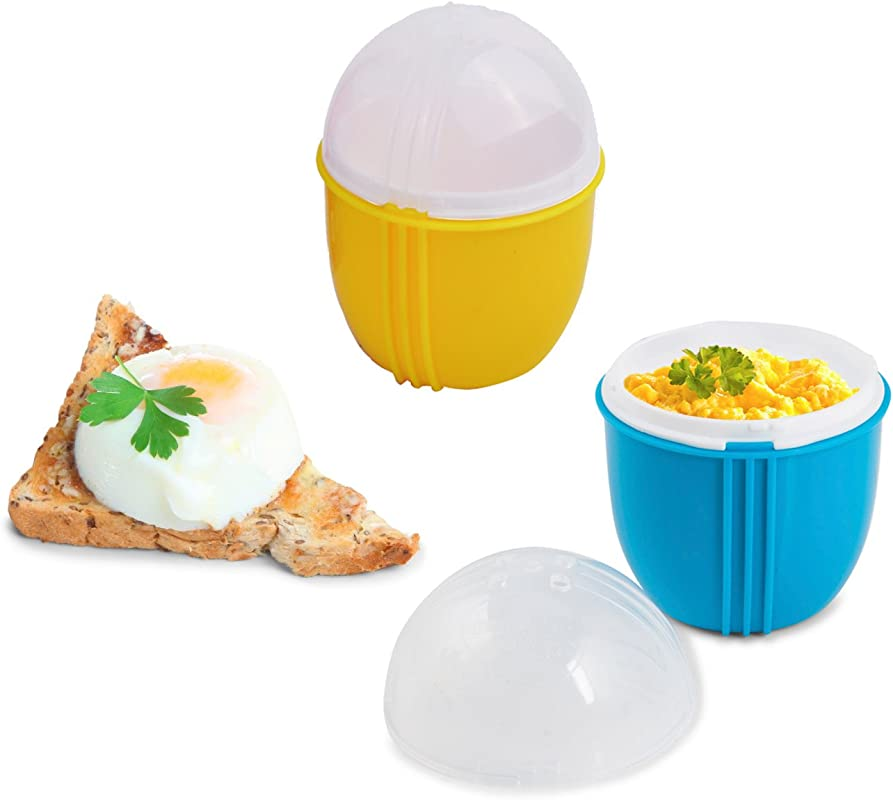 Zap Chef Microwave Egg Cooker Pack Of 2 Healthy Scrambled Eggs 1 Minute Egg Poacher Cool Touch Omlette Maker 100 Food Safe BPA Free Color May Vary