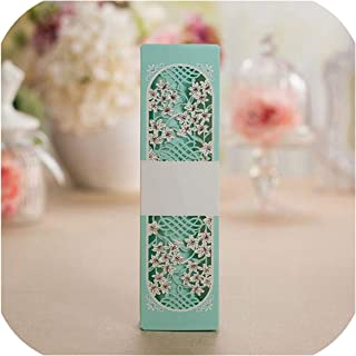 50pcs Tiffany Blue Scroll Box Packed Wedding Invitation Card With Butterfly Knot Printable Wedding Decoration Supplies,Tiffany Blue