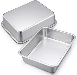 12.7-inch Lasagna Baking Pan Set of 2, P&P CHEF Stainless Steel Deep Roasting Pans for Brownie, Bread, Meat, Deep Dish & R...