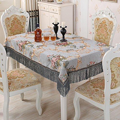 Européenne Chenille Hôtel Ménage Rond Rectangle Nappe Multifonction Décoration Couverture Tissu , gray , 110 * 160 cm