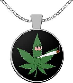 sarothdesignstore Weed Lovers Necklace - Stoned Cannabis Leaf Smoking Bud - Stoner Rasta Reefer Gifts - Ganja Accessories