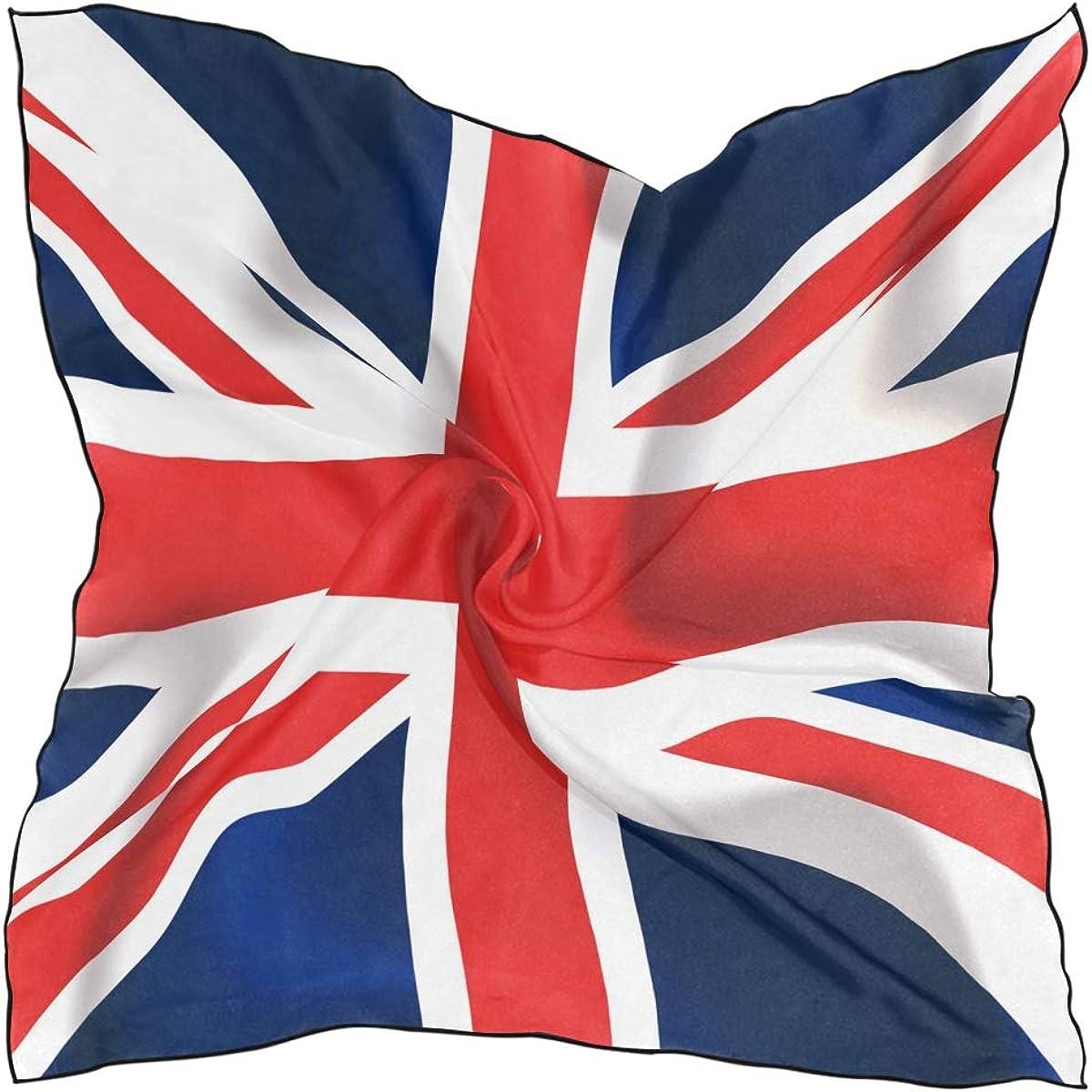XLING Fashion Square Scarf British Union Jack Flag Pattern Lightweight Sunscreen Scarves Muffler Hair Wrap Headscarf Neckerchief for Women Men