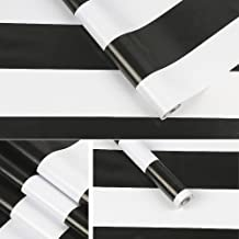 SimpleLife4U Black and White Stripe Self-Adhesive Shelf Liner Contact Paper 17.7 Inch By 9.8 Feet