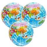 StressCHECK 3 x Atlas Bolas de Estrés, Globo, Mapa del Mundo Squeezy Bolas Ideal para TDAH, Autismo