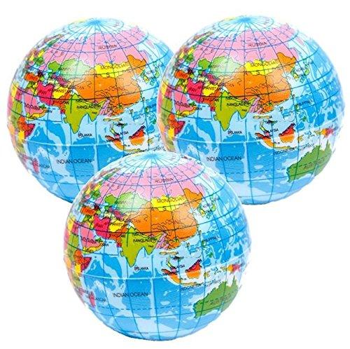 Stressballs 3 x Atlas, Globus Klien, Weltkarte Smiley Stress Ball, Kleiner Globus – Grosse Stresserleichterung