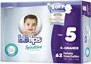 BBtips Sensitive Pañales, Talla Extra Grande/5, 124 Pañales