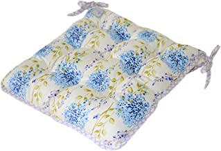 Provence Soft 100% Cotton Floral Chair Cushion with Ties in French Country Style, 15'' x 15'', Blue Meadow Flowers