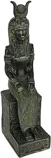 Dark Green Stone Finish Egyptian Goddess Isis Sitting On Throne Statue