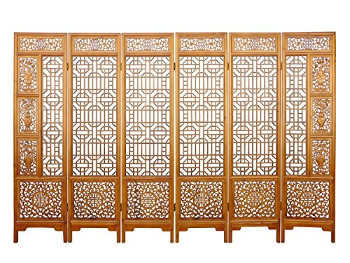 Find Bargain Chinese Brown Floral Vase Theme Wood Panel Floor Screen Acs2243